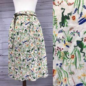 Vintage Frogs Corduroy Wrap Skirt w/ Pockets